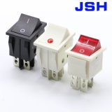 Interruttore di attuatore di Pin Dpdt 2position del nero 4 di Jsh 220V con l'indicatore luminoso del LED