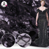 L'immaginazione progetta 3D nero floreale con il tessuto del merletto del ricamo dei Sequins