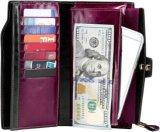 높은 고전적인 진짜 가죽 지갑 (EU5001)를 막는 제조자 RFID