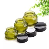 Lid Black Plastic Caps及びInner Liners Round Empty Small Glass Jar Potの15g 30g 50g Olives Green Glass Cream Jars Cosmetic Packaging