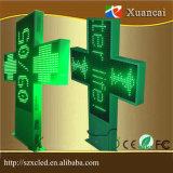 visualizzazione verde del lato del doppio di animazione del messaggio di Scrolling della traversa della farmacia di 1mx1m LED e schermo di visualizzazione impermeabile