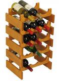 Estante de visualización amontonable del vino del estante de madera del vino de 15 botellas