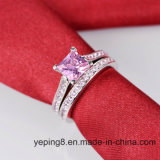 놓이는 Cut Pink 공주 다이아몬드 반지 - 45