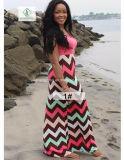 印刷されるストリップが付いている熱い販売法の女性浜のBohoのマキシの長い服