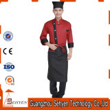 Uniforme rouge de chef d'hôtel de long type de chemise du coton 100%