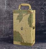 Случай вина представления новой конструкции Handmade с картой мира