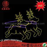 큰 제 2 옥외 LED Godlen 노란 순록 주제 크리스마스 장식적인 빛