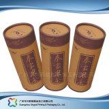 Rectángulo de empaquetado de papel de madera del tubo del embalaje del vino del alimento del regalo (xc-hba-009)