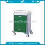 4개의 서랍 진한 녹색 시리즈 Powercoating 강철 의학 손수레 (AG-GS003로)