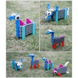 14885505-4 dans 1 Animal bloc modifié kit DIY Creative jouet éducatif Jeu de blocs 33pcs (chèvre- Camel- poisson- Buffalo)