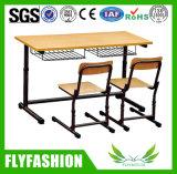 Mesa do estudante do dobro da mobília da sala de aula da venda e cadeira quentes (SF-01D)