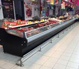 Congélateur commercial de cas d'exposition de viande de fruits de mer de supermarché