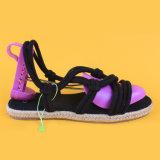 Il modo delle donne merletta in su i sandali piani neri della scarpa di tela di stile