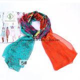 Новый дизайн печатной платы с цветочным рисунком шаль леди мода шелковые шарфы