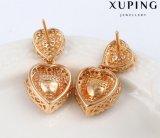 92332의 형식 호화스러운 수정같은 금은 심혼 디자인에 있는 보석 귀걸이 장식 못을 도금했다