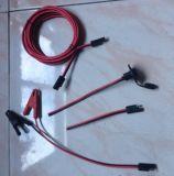 cable negro y rojo de 12AWG con el conector y los clipes de piel de cocodrilo