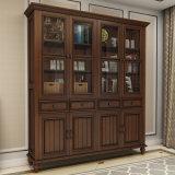 Biblioteca de madeira de teca sólida de estilo europeu (GSP18-001)