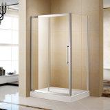 Porte de douche en verre trempé en acier inoxydable avec poignée et rouleau en acier inoxydable (K-SS13)