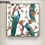 キャンバスの美しい孔雀の油絵