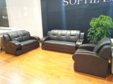 Sofá moderno de oficina de cuero genuino con madera
