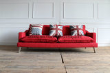 Il tessuto moderno della mobilia del salone del tessuto di colore rosso progetta il sofà europeo del tessuto