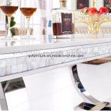 Tableau dinant de marbre cultivé par base inoxidable de Steeel
