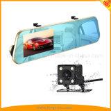 câmera do carro do espelho 4.3inch com a came dupla do traço da lente 1080P
