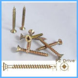 Flat Head Yellow Zinc Fixed Screw