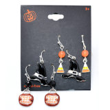 Le moulage en alliage de Balle acrylique en émail noir Dangle Drop Earrings Set