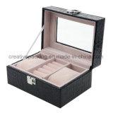 贅沢で黒い革宝石類の箱ボックス
