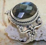 Ring van Cabochon van de Halfedelsteen van het Staal van de manier de juwelen-Roestvrije