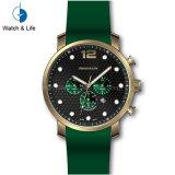 Chronograph Sport Stainles steel band reloj de pulsera de silicona hombres