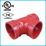 FM/homologué UL du raccord de tuyau cannelé en fonte ductile le raccord en T