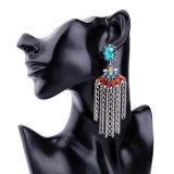 Böhmischer ethnischer eleganter persönlicher Kristall verzierte Legierungs-Ketten-Troddel-Ohrringe