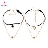 Ожерелье чокеровщика дешевой женской просто двухшпиндельной отделяемой конструкции шарика Lockbone цепной привесное короткое