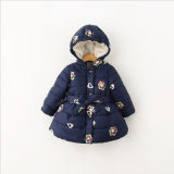 Cute Embroidery Girl Cotton Coat for Children's Clothing