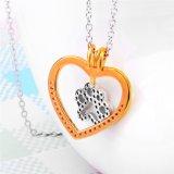 Collana Pendant di fascino dei monili della zampa del cane di modo della collana del cuore genuino dell'argento sterlina 925 per le donne