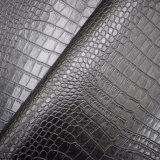 Cuoio di pattino artificiale dell'unità di elaborazione di colore del coccodrillo del reticolo nero della pelle