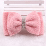 El algodón rosa Bowknot Hair Clip
