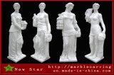 돌 새기는 백색 대리석 여성 4개 절기 조각품 동상