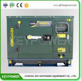 Générateur diesel silencieux 7kw Genser diesel insonorisé de couleur verte d'armée pour l'usage de militaires