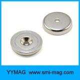 さら穴を開けられた穴が付いている極度の強いネオジムの保有物の鍋の磁石