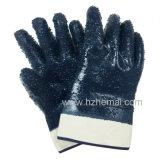 Перчатка работы безопасности перчаток нитрила грубой отделки Джерси польностью окунутая голубая