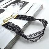Colar pequena do Choker das flores do Crochet preto elegante quente do laço da jóia da forma