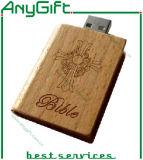 주문을 받아서 만들어진 로고 및 모양 23를 가진 나무로 되는 USB