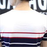 T-shirt à rayures en coton à col en O avec manches courtes