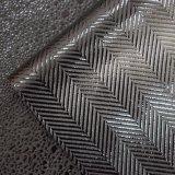 O projeto do Weave de Twill gravado imita o couro do plutônio do falso para o vestuário