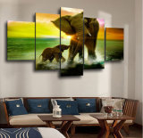 HD imprimió la lona Mc-082 del cuadro del cartel de la impresión de la decoración del taller de impresión de la lona de pintura de la familia del elefante