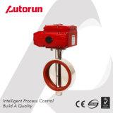 Válvula de borboleta sanitária do produto comestível com atuador elétrico