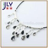 Collar de imitación de la joyería de la aleación de la plata del laminado del esmalte de la PU de la manera al por mayor de la cuerda